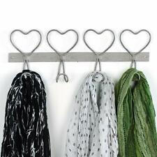Love coat hook four hanger clothes grey mink vintage rustic shabby chic Heart