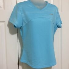 Reebox Women T-Shirt Medium WTF Athletic Top Blue Athleisure Run Short Sleeve