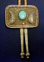 NATIVE AMERICAN STERLING Silver Turquoise Cab Mans Vintage BOLO TIE