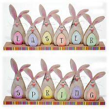 Wood SPRING / EASTER Reversible Sign, Egg or Bunny Shape Home Decor NEW