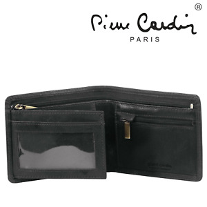 Pierre Cardin Mens RFID Rustic Wallet Genuine Italian Leather w Gift Box - Black
