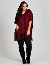 Autograph Burgundy KNIT peasant boho fringe PONCHO jumper top XL 24 26 NEW