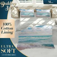Sea Surface Beach Wave Blue Doona Cover Set with Zipper And Matching Pillowcase