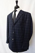 Men's Desch Navy Checked Silk Wool Sports Jacket Blazer 46R CC5734