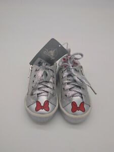DISNEY Girls Size 7 Tennis Shoes Metallic Silver Lace Up Minnie Mouse Red Bow