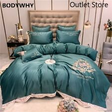 Flower Embroidery Silk Soft Bedding Set Duvet Cover Bed Fitted Sheet Pillowcase