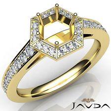 Hexagon Halo Pave Diamond Engagement 0.5Ct Round Semi Mount Ring 14k Yellow Gold