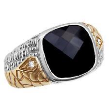 Philip Andre 14K Gold & Sterling Silver Diamond & Black Onyx Men's Ring sz 10.5