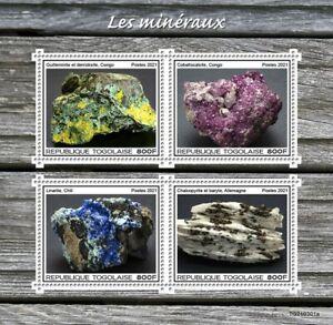 Togo 2021 MNH Minerals Stamps Cobaltocalcite Linarite Chalcopyrite Baryte 4v M/S