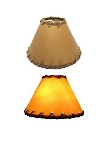 """Tan Chandelier Lamp Shades Laced Faux Leather Hardback Clip On Set /4 NEW 4""""x6"""""""