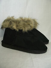 BNWT Ladies Sz 6 Smart Black Cherrylane Mock Fur Trim Short Boot Style Slippers