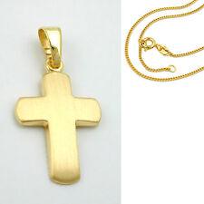 kleines Echt Gold 333 Baby Taufe Kommunion Firmung Kreuz mit Silber 925 VG Kette