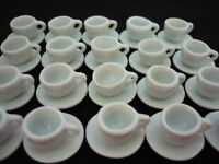 1cm. White Mini 20 Coffee Cup&20Saucer Dollhouse Miniatures Ceramic Supply Deco