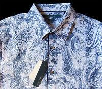Men's PERRY ELLIS White Blue Modern Paisley Shirt XXL 2XL NWT NEW Slim Fit WOW!