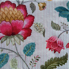 1 Paper Design Napkin Servietten Decoupage Craft Tissue Flower Peony Pink Strip
