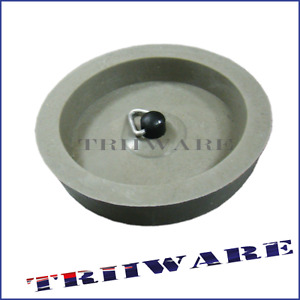 2x Ring Pull Rubber Plug 50mm Grey Tub Seals Inside Rim Tap Sink Waste
