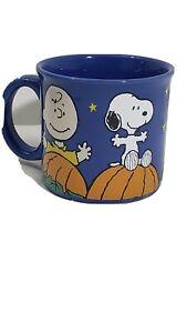 Snoopy Woodstock Peanuts Gang Great  Pumpkin Halloween Blue Ceramic Coffee Mug