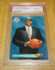 1992 Upper Deck #2 Alonzo Mourning Rookie Card RC HOF PSA 8 NM-MT