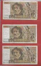 Lot de 3 x 100 FRANCS EUGENE  DELACROIX de 1981 ALPHABETS Y.47  P.48  U.48