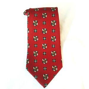 Tommy Hilfiger Men's Red Neck Tie 100% Italian Silk Logo Pattern