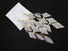 Beautiful Stylish Gold Toned Sparkling Frosted Diamond Shaped Ladies Earrings