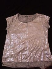 T-shirt donna GLITTER maglietta argento discoteca capodanno biker rock Tg L