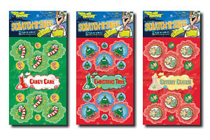 Christmas Scented Scratch n Sniff Stickers - Christmas Tree, Candy Cane, Cookie