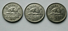 Lot of 3 - 1939 1940 1941 CANADA George VI Nickel Coins - 5 Cents - circulated