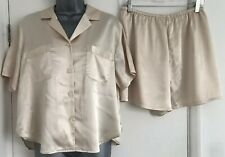 Victoria's Secret Cream Satin Shorts Pyjama Lingerie Set Sleepwear Medium