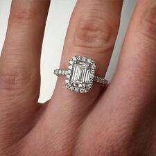 1.90 Ct Natural Emerald Cut Halo Diamond Engagement Ring - GIA Certified