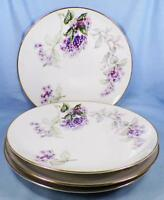 4 Sone China Lilac Dinner Plates Porcelain Gold Trim Purple Lilacs Japan Nice