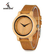 Genuine Bamboo Natural Wooden Men's Women's Watch Real Leather Band Wood