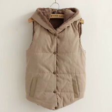 Womens Sleeveless Winter Hooded Gilet Thick Waistcoat Vest Hoodies Coat Jacket