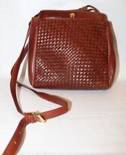 ETIENNE AIGNER Brown Basket Weave Purse Tote Shoulder Cross Body Bag Vintage