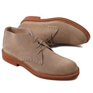 NIB $650 ERMENEGILDO ZEGNA Tan Suede Desert Ankle Boots US 9.5 Shoes