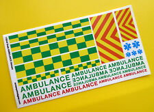 Ranura de coche Scalextric 1/32nd escala del Reino Unido, Ambulancia Emergencia De Stickers Calcomanías