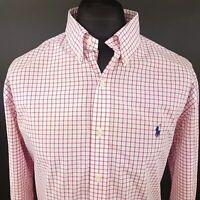 Ralph Lauren Mens Shirt XL Long Sleeve Pink SLIM FIT Check Cotton