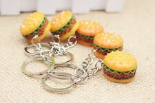 1pc Hamburger Key Chain Food Resin  3D Burger Pendant Christmas Gift Cute