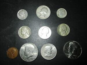 OLD U.S.A. COIN LOT__1954 QUARTER, 1917-D Mercury, SILVER NICKELS, 1963 Dime