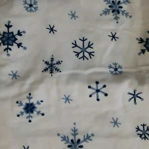 New Tommy Hilfilger blue white snowflake twin flannel sheet 100% cotton