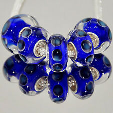 5 x Blue Abstract Dots Circles Glass Bracelet Spacer Threader Charm Beads. 2172