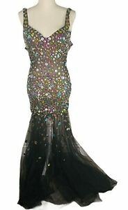 Panoply Womens Formal Dress Sz 4 Black Multi Color Beads Mermaid Style