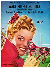 Duke vs. Wake Forest, 1947 Oct 25 Program Cover Poster 13 x 17.5 Giclee print