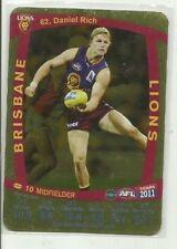 2011 TEAMCOACH GOLD BRISBANE LIONS DANIEL RICH #62 AFL CARD