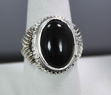 Sterling Silver Large Cabochon Onyx Ring Size 9.25