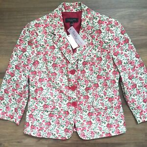 Talbots Petites Floral Print Blazer Size 4P Pink Green New with Tags  3-Button