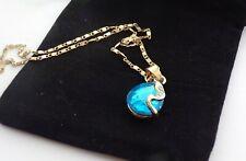 Faux Sapphire Blue Teardrop  Pendant  & Gold Tone Chain Necklace