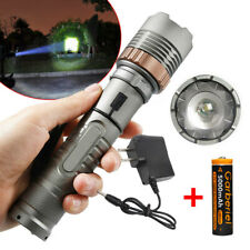 Rechargeable 900000LM Camping LED Flashlight T6 Tactical Police Torch +Batt+Char