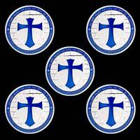 5pcs Knights Templar Cross Coin Soldier Of Christ Token Freemason Blue Coins