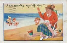 MENDING RAPIDLY HERE Mother Repairing Boys Pants BEACH Comic Colour PC 1931